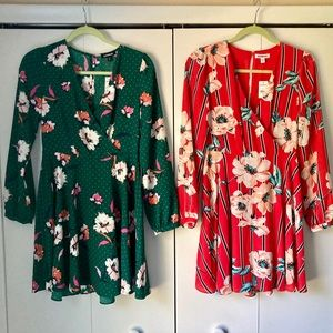 NWT EXPRESS Long sleeve floral mini dress RED XS 0